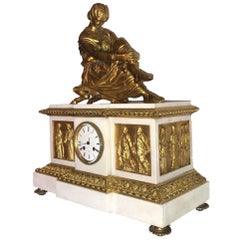 Napoleon III Gilt Bronze Clock by Henri Picard with Gilt Sappho by Jean Pradier
