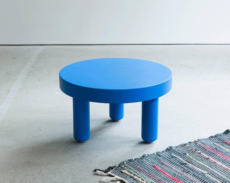 Modern Low Table End Side in Powder Blue Maple   For Sale
