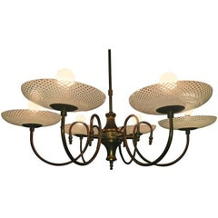 Rare Chandelier Reticello by Venini, 1940s