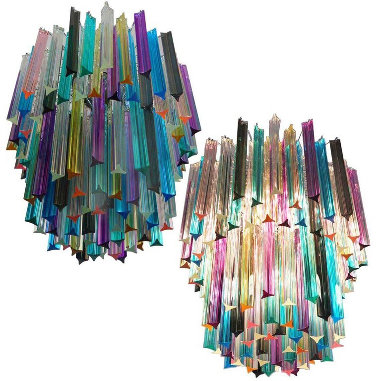 Pair of Chandeliers Multi-Color Triedri, 107 Prism, Murano, 1970s