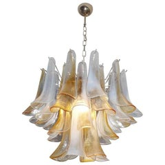 Elegant Chandelier White and Amber Petals, Murano, 1990s