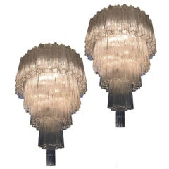 Pair of Italian Tronchi Chandeliers in the Style Toni Zuccheri for Venini Murano