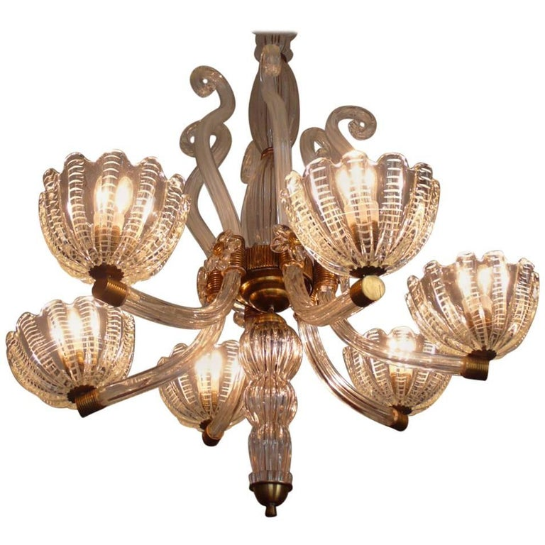 Mid Century Textured Spike And Swirl Glass Chandelier By