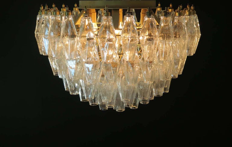 Italian ceiling light made from 84 beautiful Murano transparent glasses