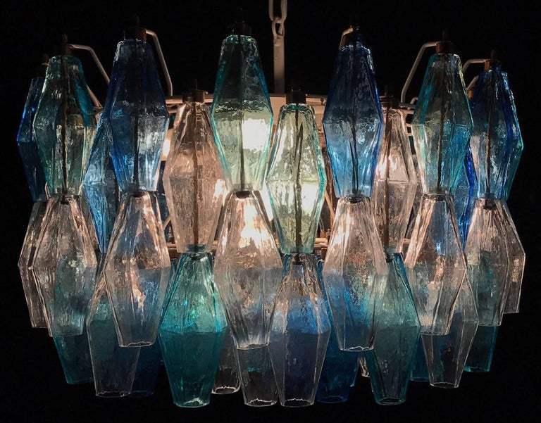 Metal Pair of Murano Poliedri Chandelier in the Style of Carlo Scarpa For Sale