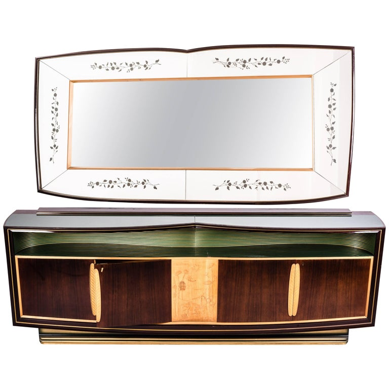 Italian Sideboard and Mirror by Vittorio Dassi, 1950s