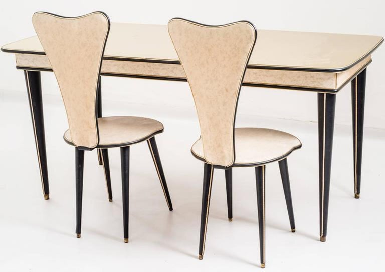 Aluminum Dining Table and Set of Six Chairs by Umberto Mascagni, 1950s For Sale