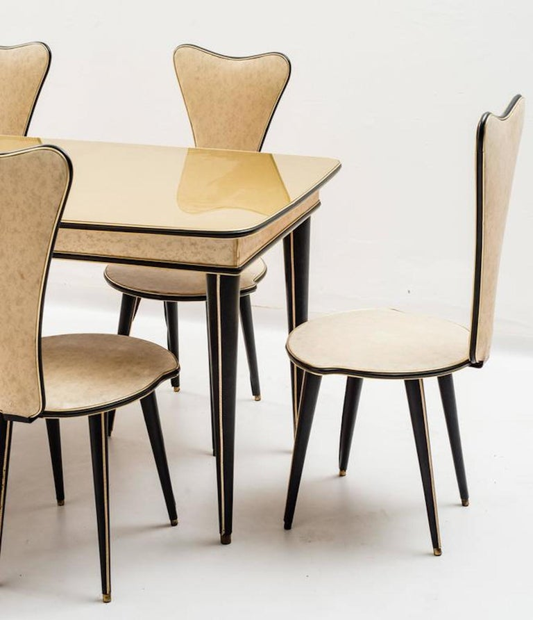 Dining Table and Set of Six Chairs by Umberto Mascagni, 1950s For Sale 1
