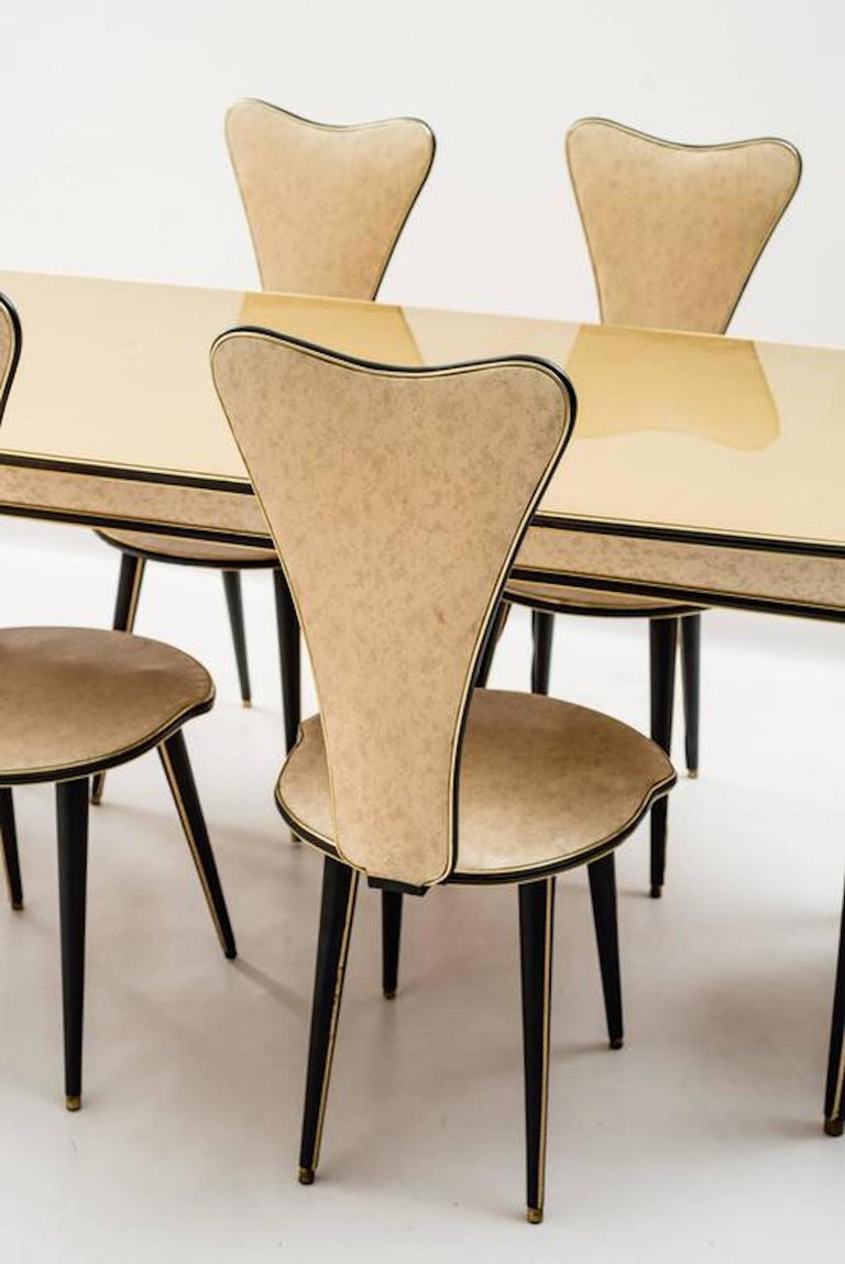Dining Table and Set of Six Chairs by Umberto Mascagni, 1950s For Sale 4