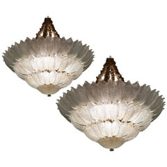 Spectacular Pair of Venetian Murano Ceiling Lights