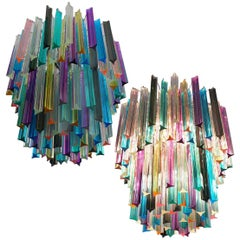 Chandelier Multi-Color Triedri, 107 Prism, Murano, 1970s