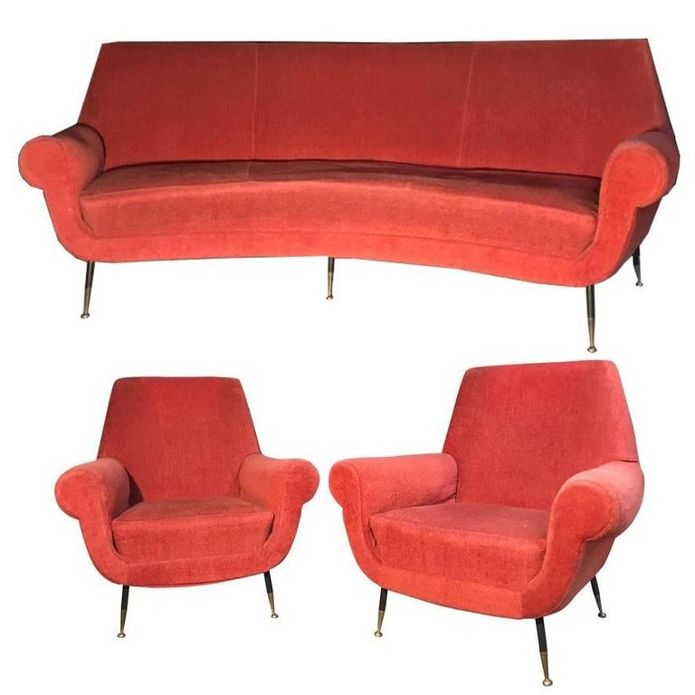 Italian Set with a Curved Sofa by Gigi Radice for Minotti, 1950