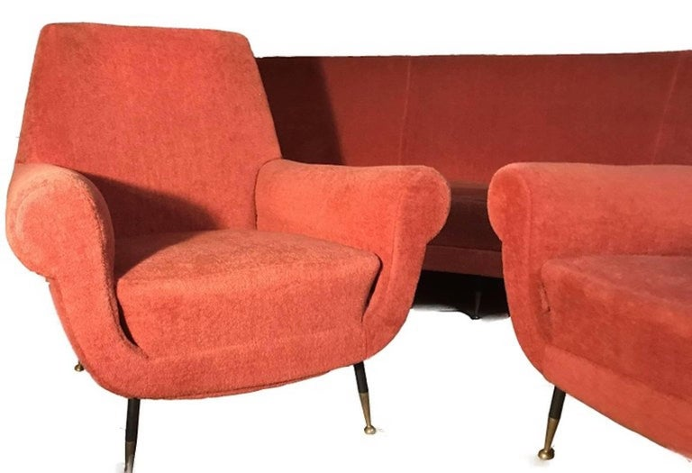 Mid-20th Century Italian Set with a Curved Sofa by Gigi Radice for Minotti, 1950 For Sale