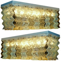 Pair of Ceiling Lights Fixture by Carlo Nason for Mazzega, 1970
