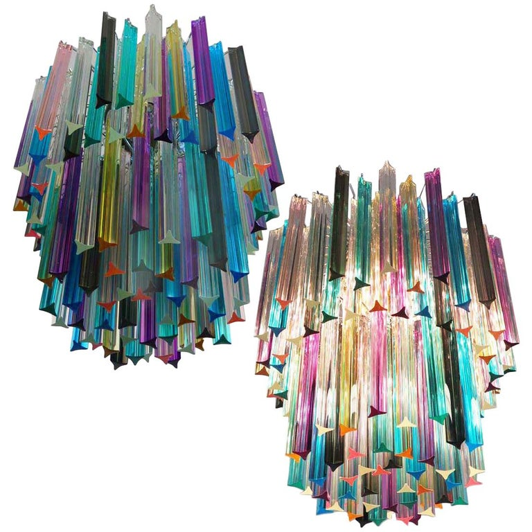 Pair of Chandeliers Multi-Color Triedri, 107 Prism, Murano, 1970s For Sale