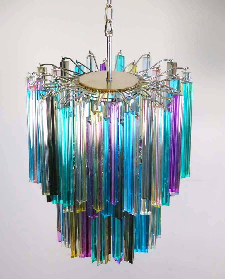 Italian Pair of Chandeliers Multi-Color Triedri, 107 Prism, Murano, 1970s For Sale