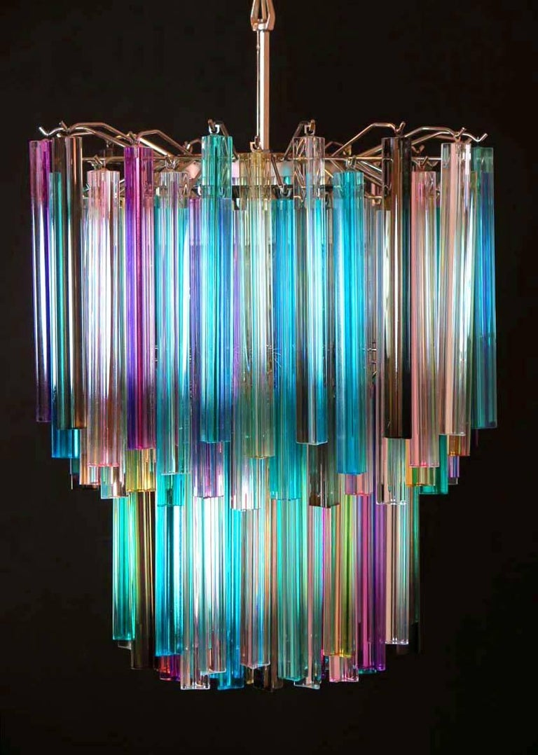 20th Century Pair of Chandeliers Multi-Color Triedri, 107 Prism, Murano, 1970s For Sale