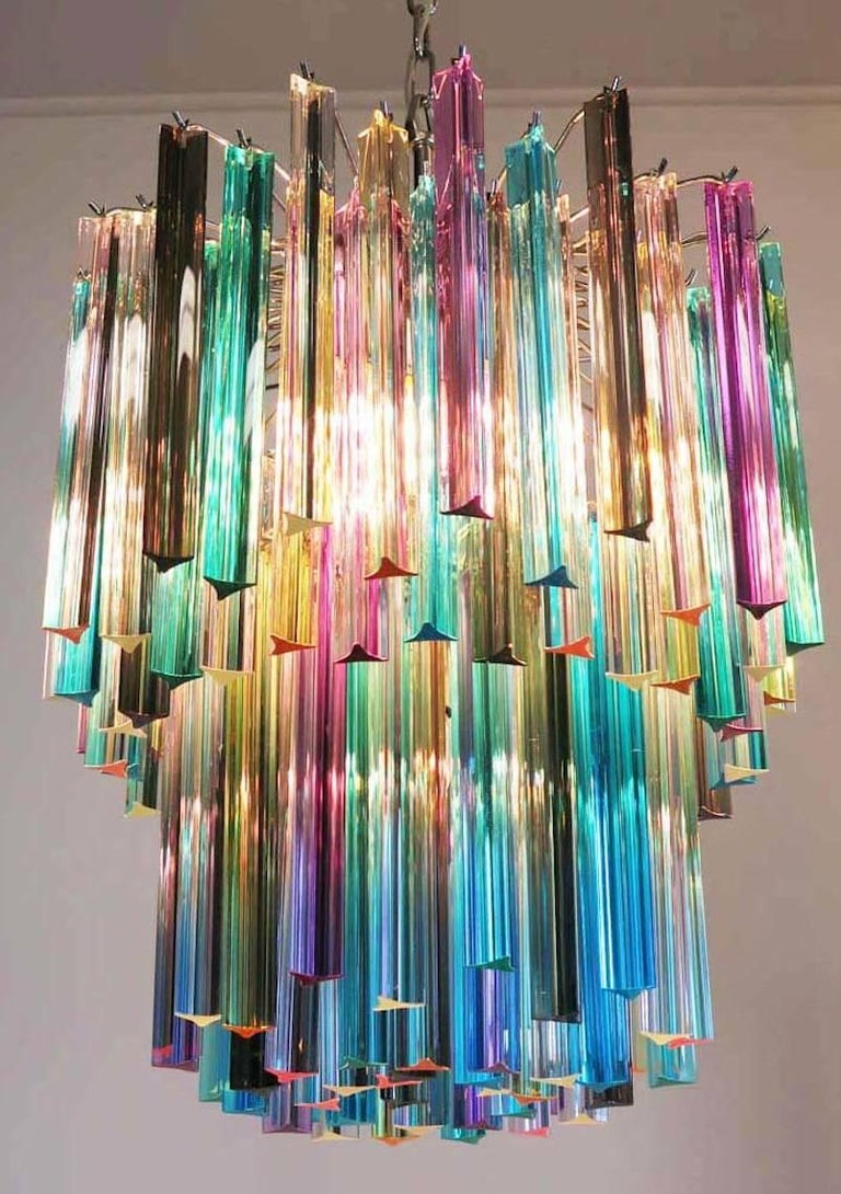 Pair of Chandeliers Multi-Color Triedri, 107 Prism, Murano, 1970s For Sale 1