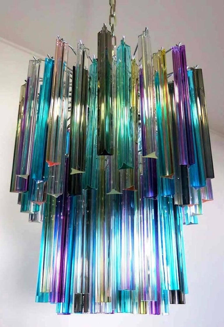 Pair of Chandeliers Multi-Color Triedri, 107 Prism, Murano, 1970s For Sale 3
