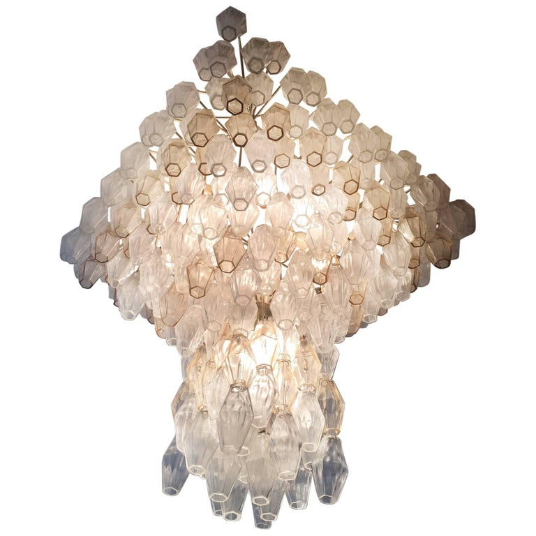 Original Poliedri Chandelier by Carlo Scarpa for Venini, 1960s For Sale