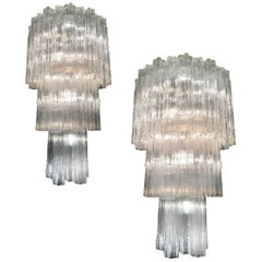 Pair of Italian Tronchi Chandelier in the Style Toni Zuccheri for Venini, Murano