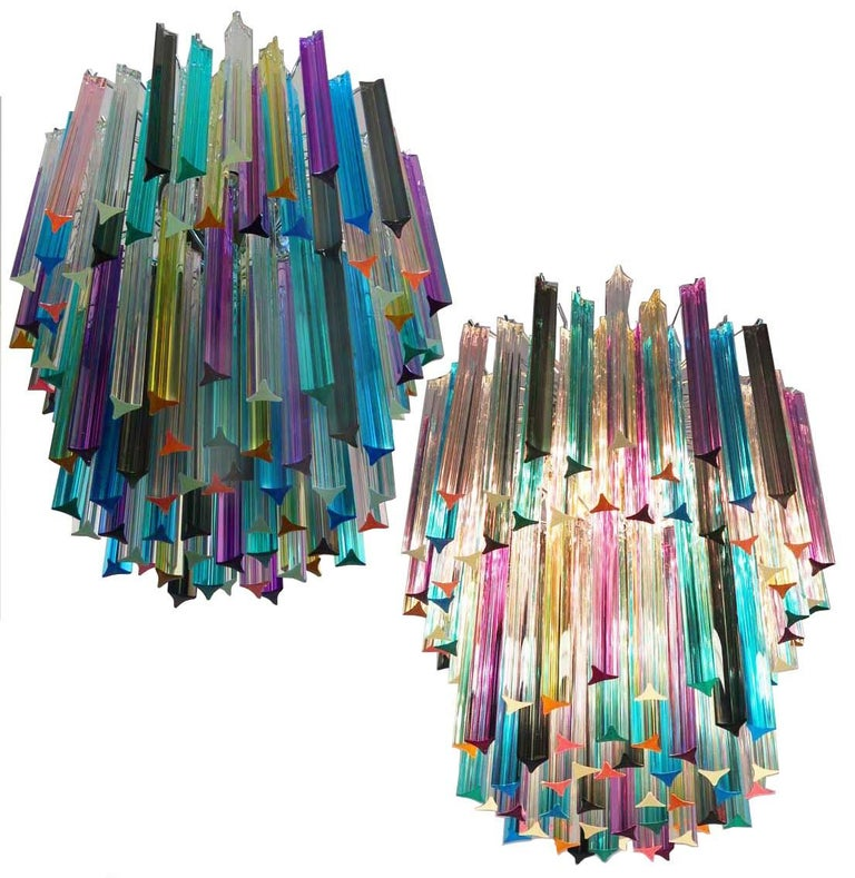 Fantastic Murano chandelier made by 107 Murano crystal multicolored prism in a nickel metal frame. The glasses are transparent, blue, smoky, purple, green, yellow and pink. Dimensions: 55.10 inches height (140cm) with chain, 29.50 inches height