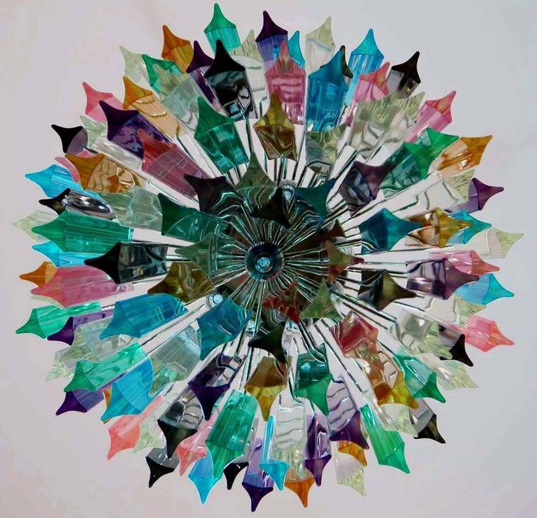 Metal Chandelier Multicolor Triedri, 107 Prism, Murano, 1970s For Sale