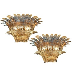 Original Italian Palmette Sconces by Barovier & Toso, Murano, 1960
