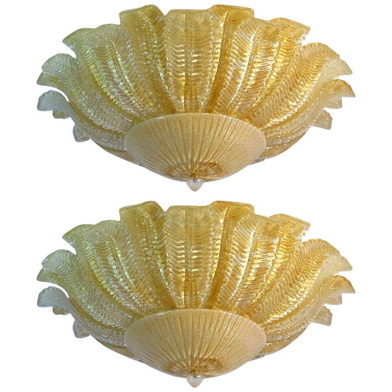 Pair of Large Ceiling Leaves Barovier & Toso Style, Murano, 1980s For Sale