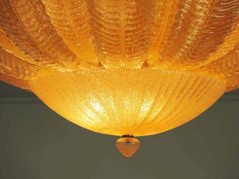 Pair of Large Ceiling Leaves Barovier & Toso Style, Murano, 1980s For Sale 2