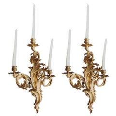 Pair of Gilded Bronze Louis XV Three-Light Sconces