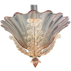 Amazing Pink Chandelier by Barovier & Toso, Murano, 1940s
