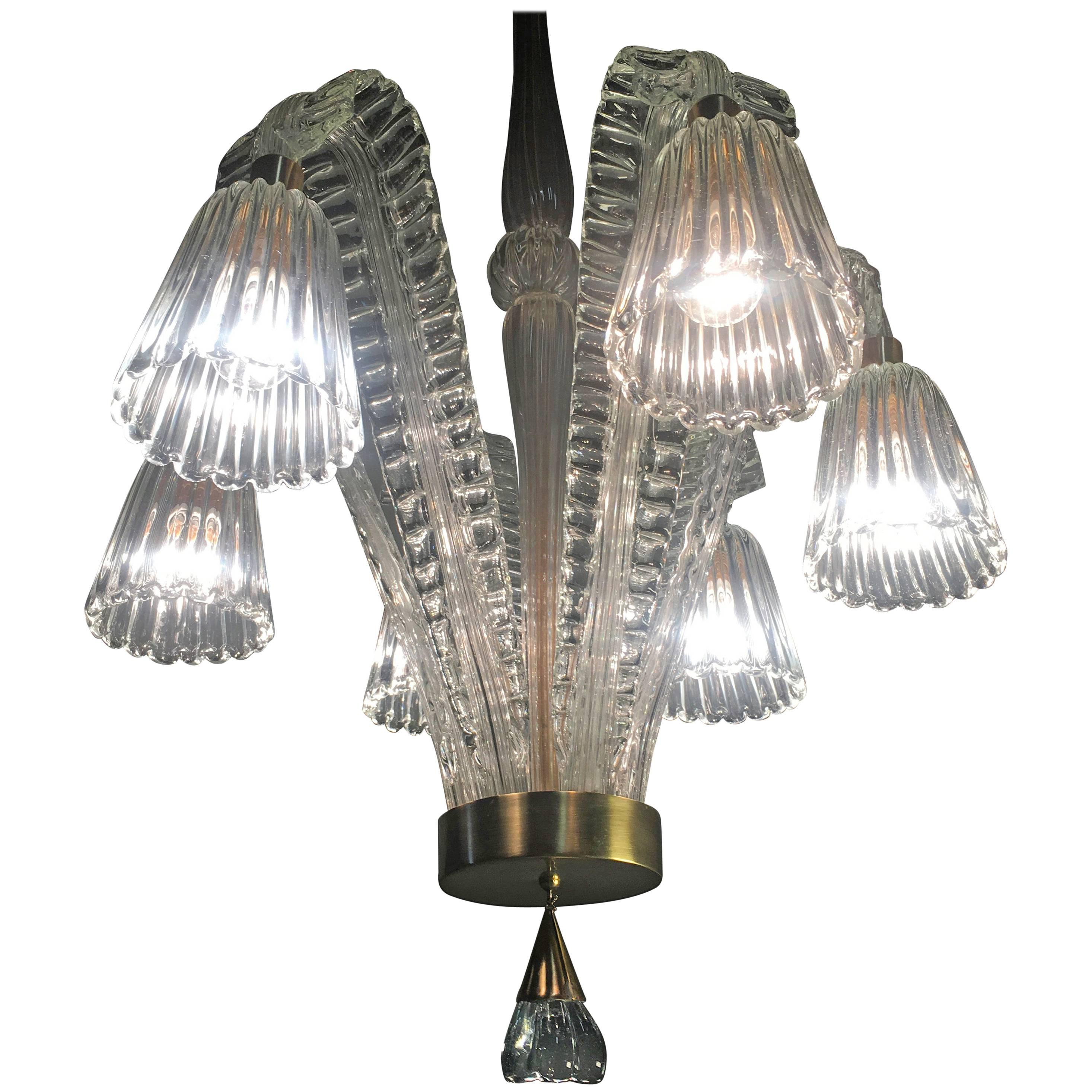 Charming Art Deco Chandelier by Ercole Barovier, Murano, 1940s