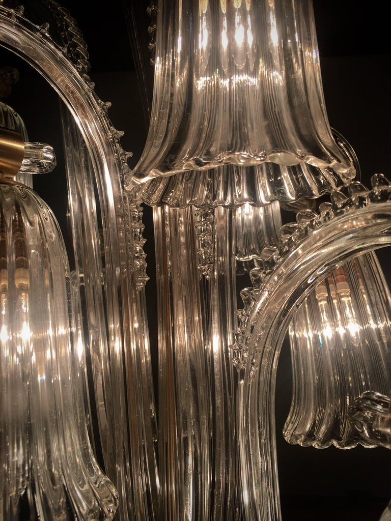 Charming Italian Chandelier by Ercole Barovier, Murano, 1940s For Sale 14