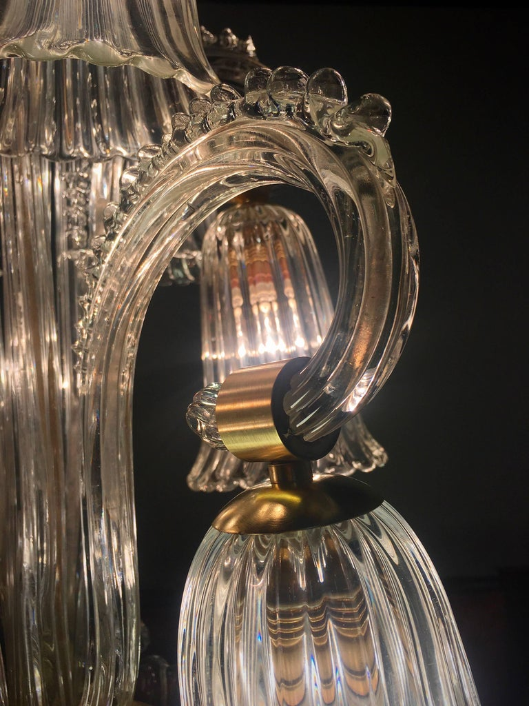 Brass Charming Italian Chandelier by Ercole Barovier, Murano, 1940s For Sale