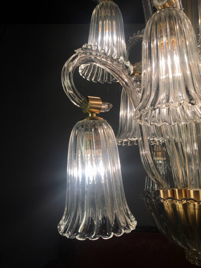 Charming Italian Chandelier by Ercole Barovier, Murano, 1940s For Sale 11