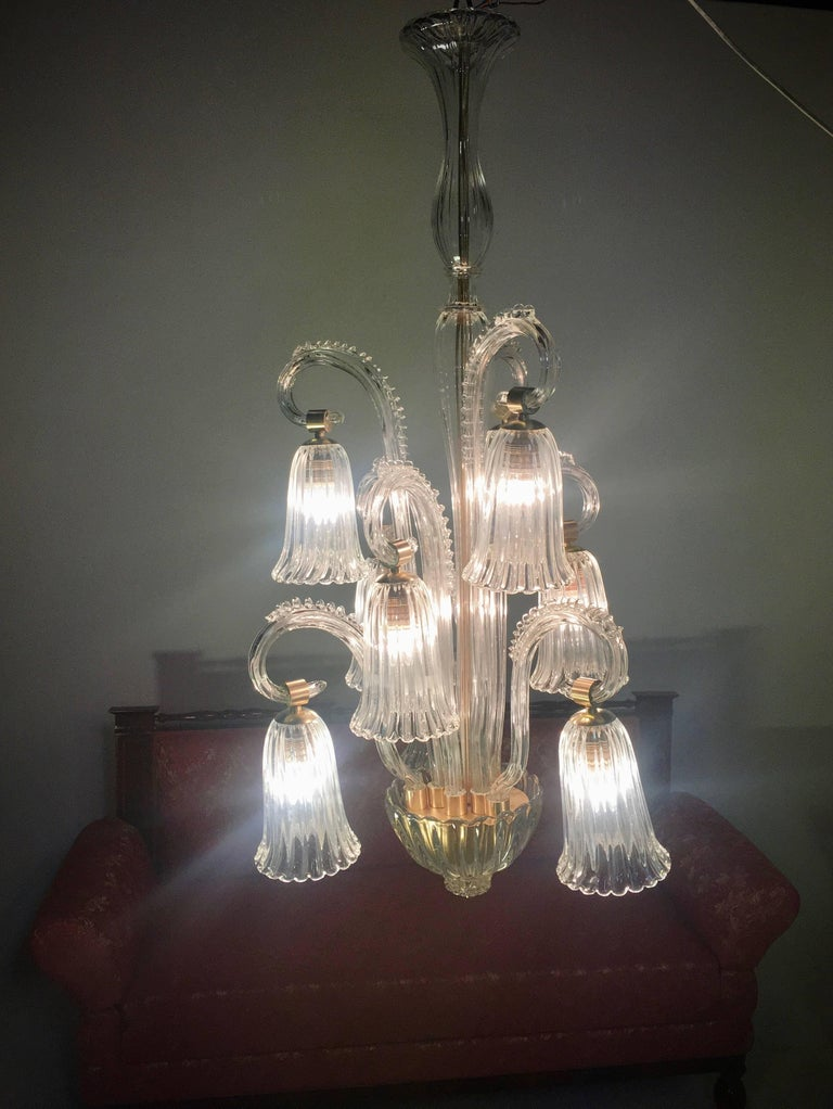 Charming Italian Chandelier by Ercole Barovier, Murano, 1940s For Sale 5