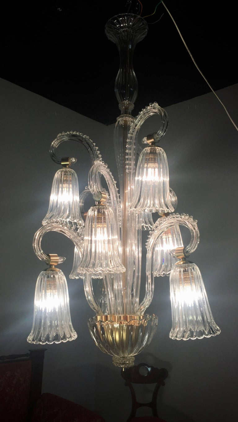 Charming Italian Chandelier by Ercole Barovier, Murano, 1940s For Sale 7