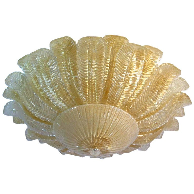 Large Ceiling Leaves Barovier & Toso Style, Murano, 1980s For Sale