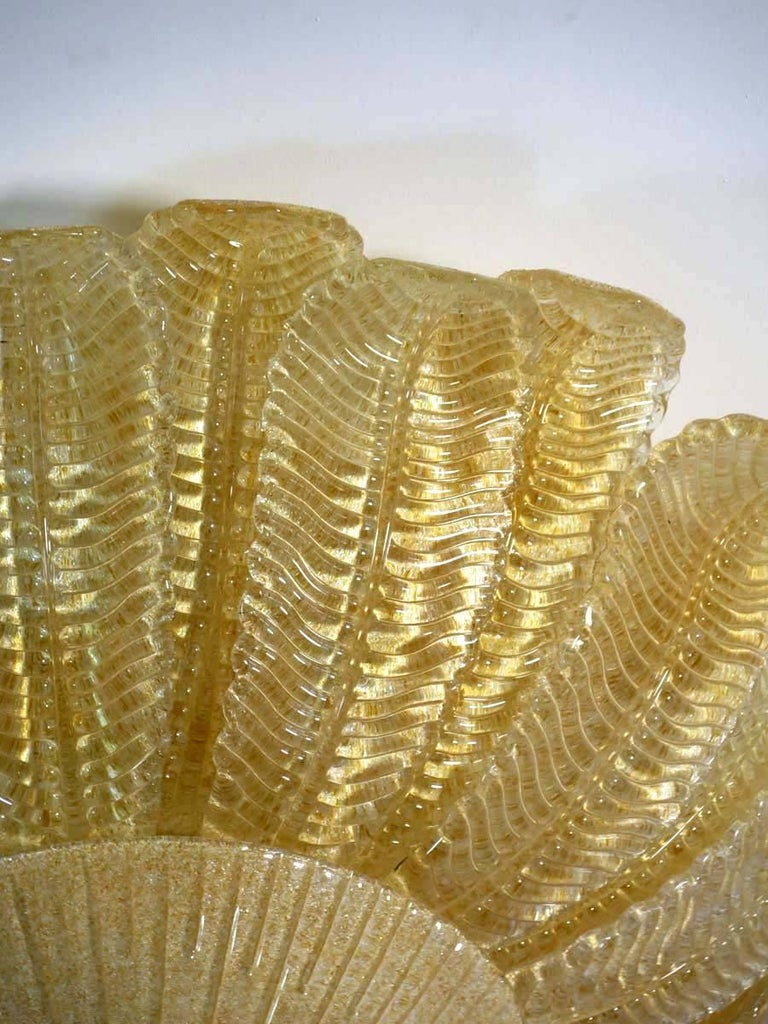 Italian Large Ceiling Leaves Barovier & Toso Style, Murano, 1980s For Sale