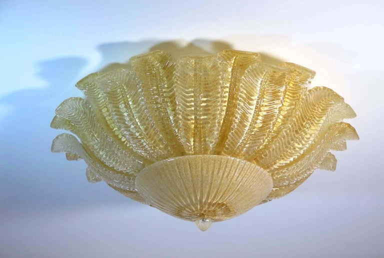 20th Century Large Ceiling Leaves Barovier & Toso Style, Murano, 1980s For Sale