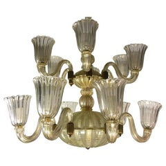 Italian Chandelier Gold Inclusion by Barovier & Toso, Murano, 1940s