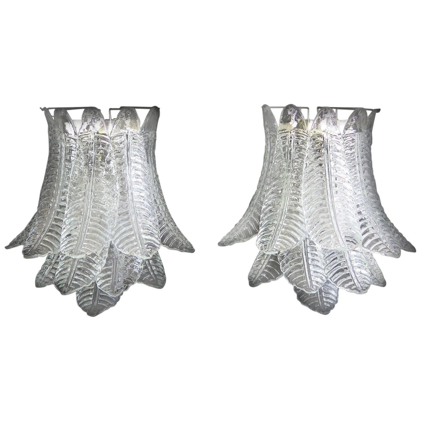 Pair of Italian Felci Leaves Sconces, Barovier & Toso Style, Murano