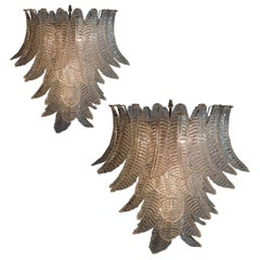 Pair of Italian Leaves Chandeliers, Barovier & Toso Style, Murano