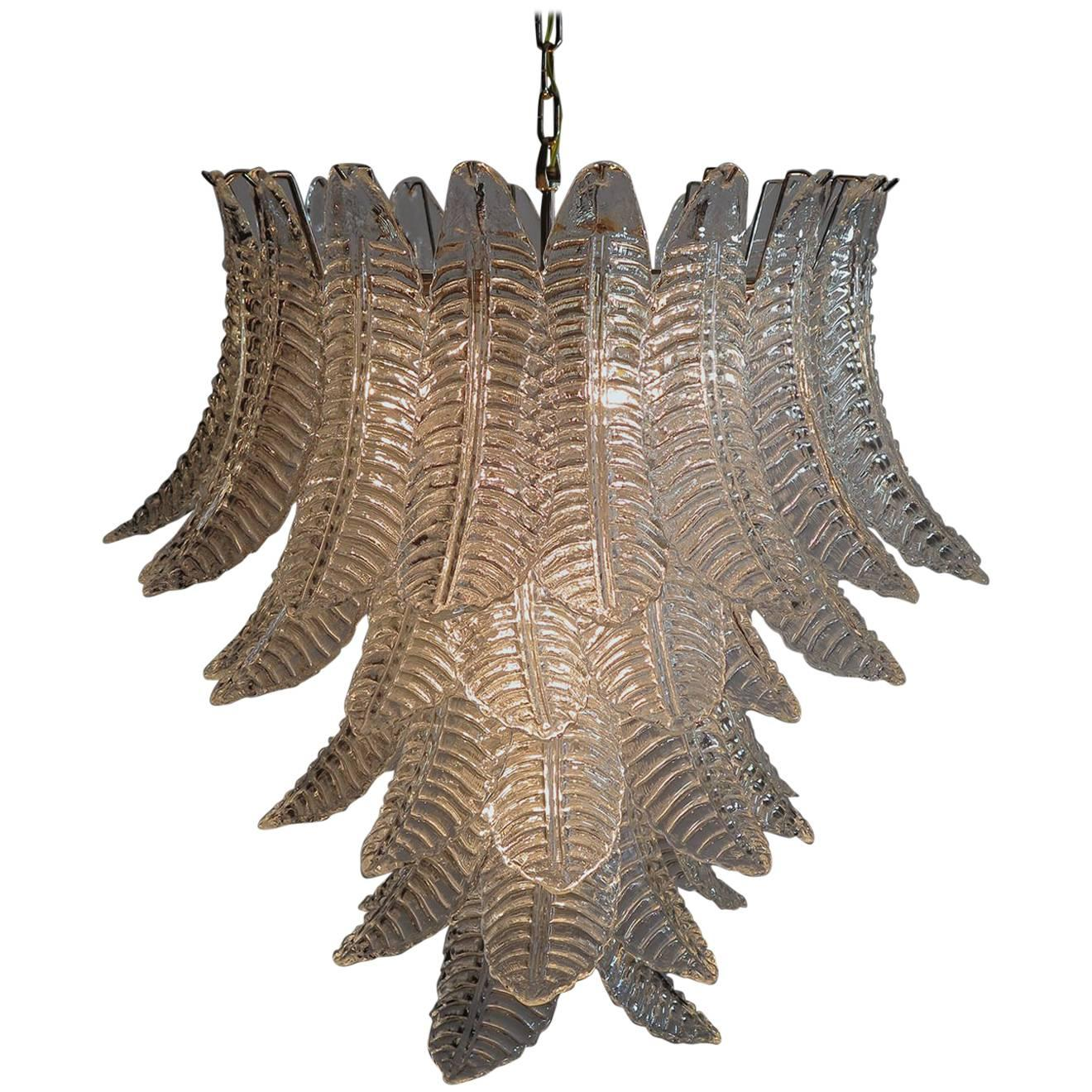 Italian Leaves Chandelier, Barovier & Toso Style, Murano
