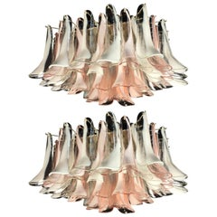 Pair of 'Flamingo' Italian Chandeliers Ceiling Lights, Murano