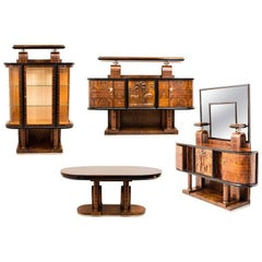 Superb Italian Design Art Deco Dining Room Set by Pierluigi Colli, 1930s