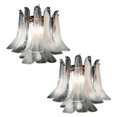 Pair of Petals Chandelier, Murano, 1980s