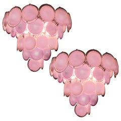 Pair of Italian Pink Disc Chandelier by Vistosi style, Murano, 1970s