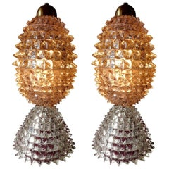 Pair of Italian Table Lamps by Ercole Barovier, 1940s